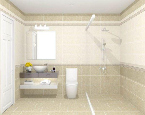 Gạch ốp lát mang đến sự hoàn thiện cho không gian nhà tắm nhỏ