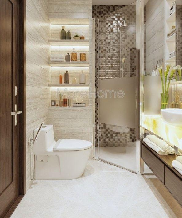 Tận dụng buồng tắm góc để tiết kiệm không gian