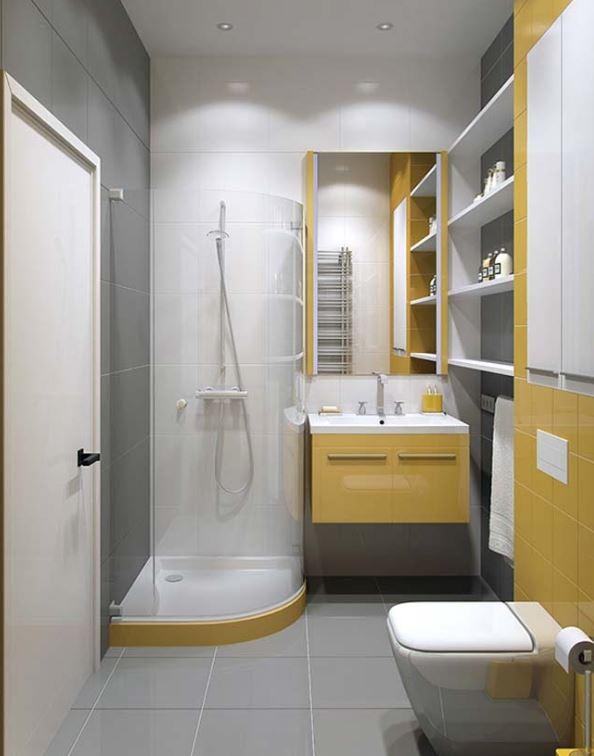 Vàng - trắng cũng là gam màu ấn tượng cho không gian tắm nhỏ