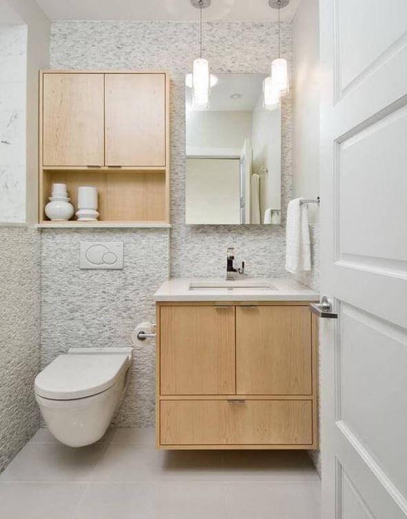 Bàn cầu âm tường, lavabo kèm tủ đựng là ý tưởng hay cho phòng tắm 2m2